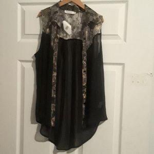 Sheer black and snake print blouse